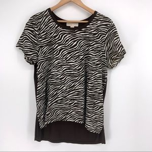 Michael Michael Kors Brown White Zebra Top